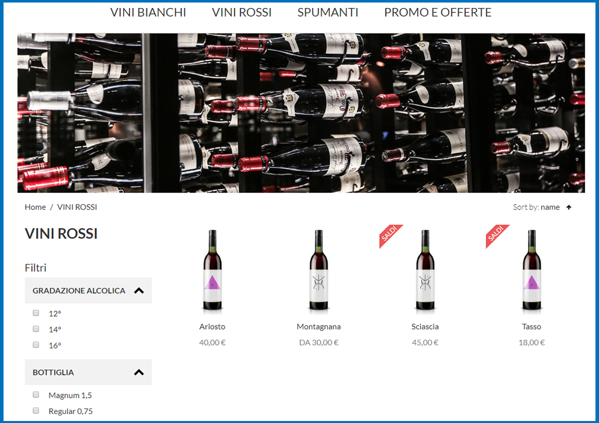 ewine demo categorie ecommerce